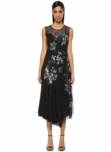 Beymen Collection İşlemeli Asimetrik Maksi İpek Elbise Siyah
